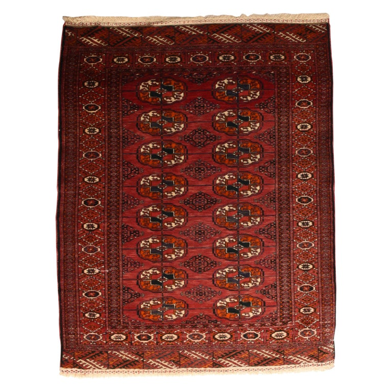 Fine Antique Bokhara Russian Rug, Hand Knotted, circa 1910 For Sale