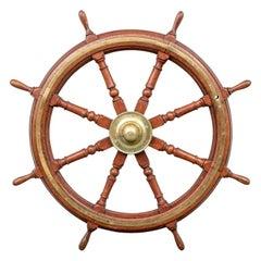 Fine Antique Brass Clad Mahogany Ship's Wheel