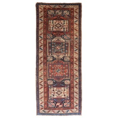 Fine Antique Caucasian Russian Runner Rug, Hand Knotted, circa 1880