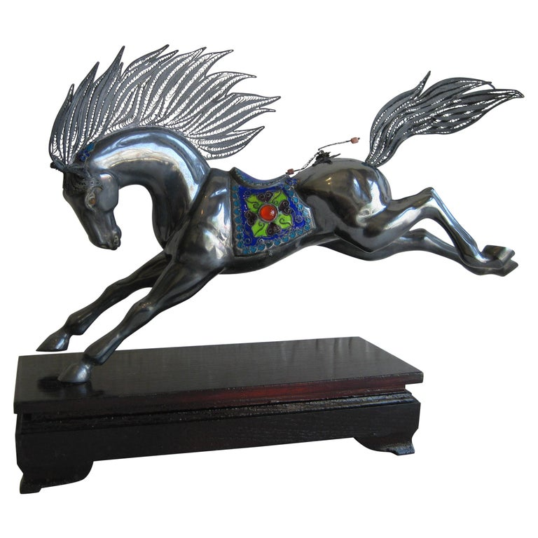 Fine Antique Chinese Sterling Silver and Enamel with Coral Beads Horse Sculpture For Sale