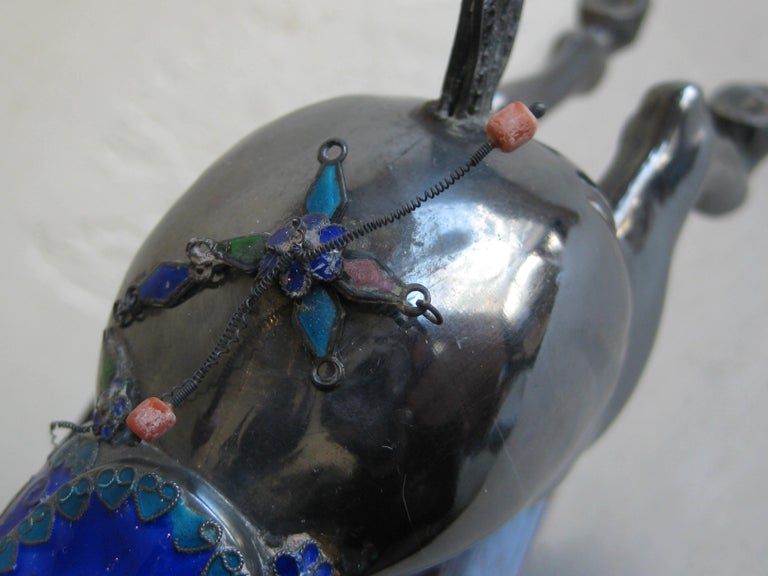 Fine Antique Chinese Sterling Silver and Enamel with Coral Beads Horse Sculpture For Sale 6