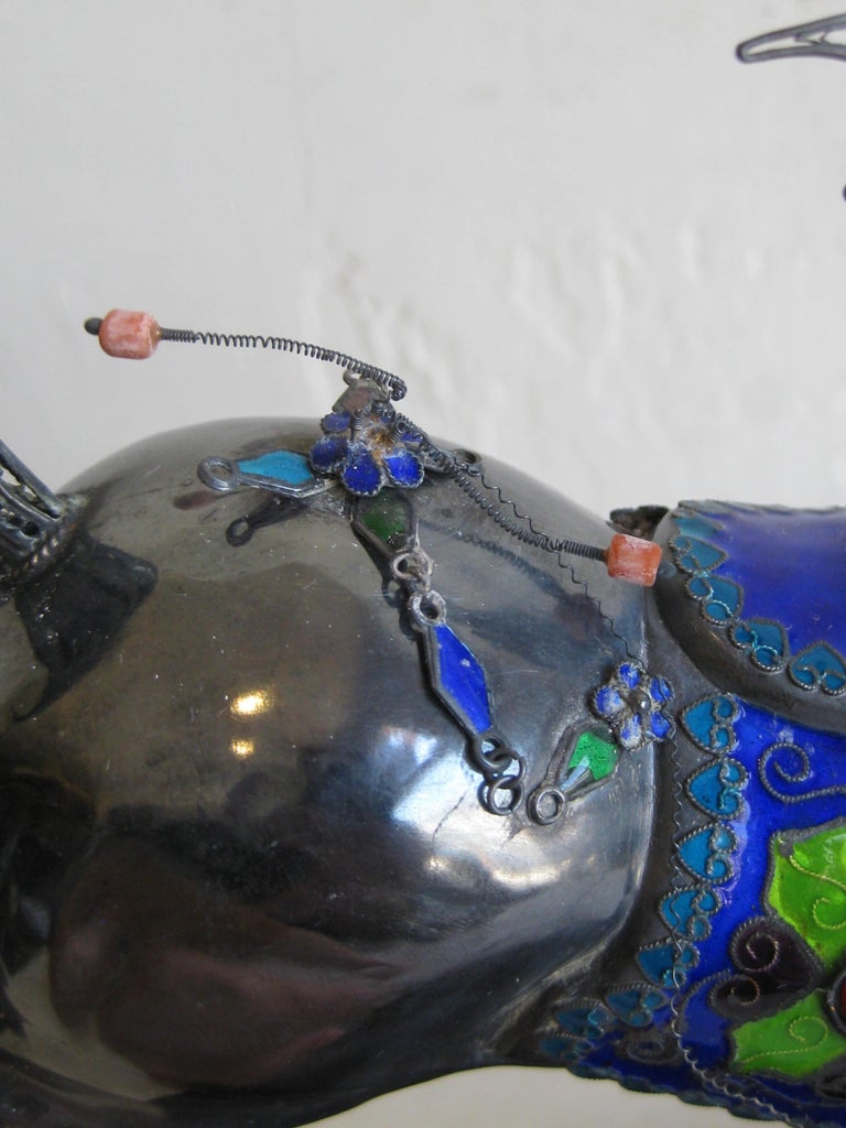 Fine Antique Chinese Sterling Silver and Enamel with Coral Beads Horse Sculpture For Sale 13