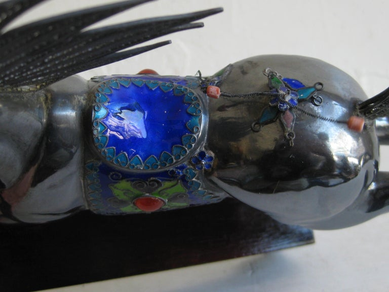 Fine Antique Chinese Sterling Silver and Enamel with Coral Beads Horse Sculpture For Sale 15