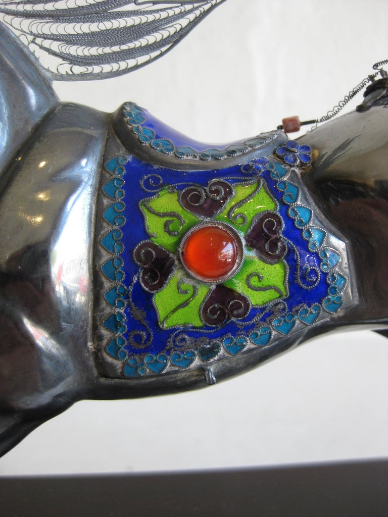 Fine Antique Chinese Sterling Silver and Enamel with Coral Beads Horse Sculpture For Sale 3