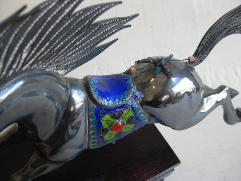 Fine Antique Chinese Sterling Silver and Enamel with Coral Beads Horse Sculpture For Sale 5