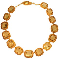 Fiery 18K yellow Gold Georgian Necklace with 15 big citrine stones