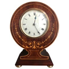 Fine Antique Edwardian Inlaid Mahogany Desk Clock