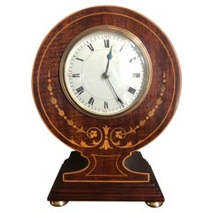 Fine Antique Edwardian Mahogany Inlaid Desk/Mantle Clock