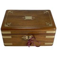 Fine Antique English Brass Inlaid Campaign Style Jewelry Box, circa 1860