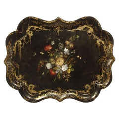 Fine Antique English Painted Tray with Mother of Pearl Insets, circa 1850