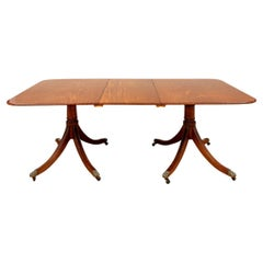 Fine Antique Figured Mahogany Double Pedestal Dining Table