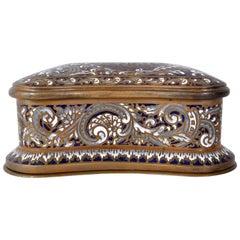 Fine Antique French Art Nouveau Bronze Champlevé Enamel lidded Jewelry Box, 1900