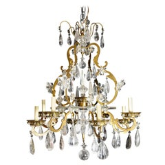 Fine Antique French Baguès Style Gilt Bronze and Rock Crystal Chandelier