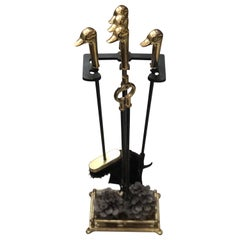 Fine Antique French Bronze Fire Place Tool Set and Stand with Duck Heads