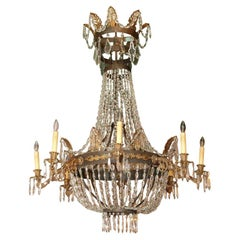 Fine Antique French Empire Crystal and Bronze 8-Light Chandelier