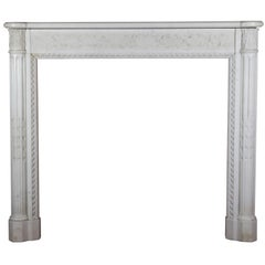 Fine Antique French Louis XVI Period White Statuary Marble Fireplace Surround