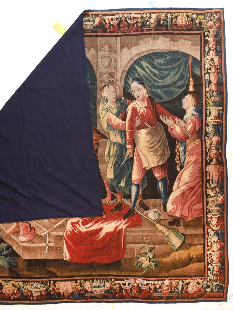 Fine antique French Tapestry (Don Quixote), circa 17th century  Design: Pictorial  Tapestry is a form of textile art, traditionally woven by hand on a loom. Tapestry is weft-faced weaving, in which all the warp threads are hidden in the
