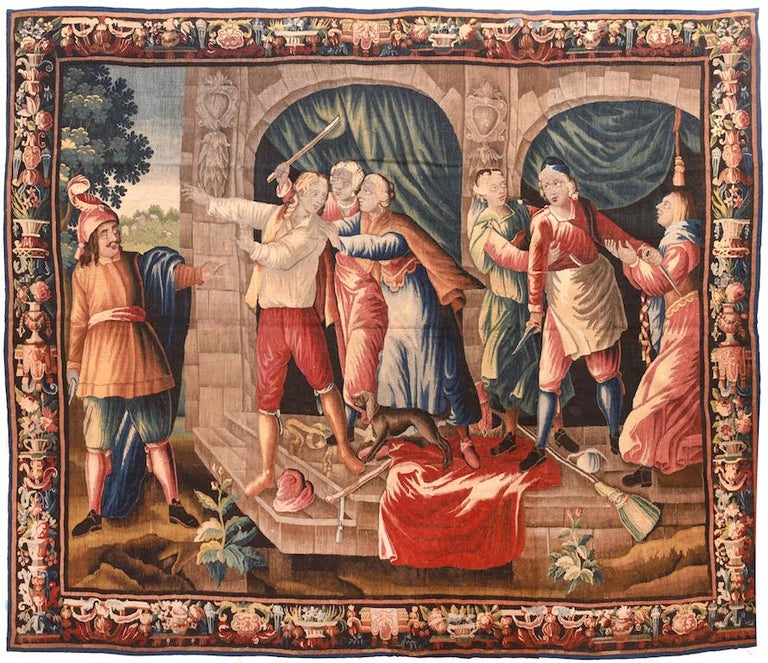 Hand-Crafted Fine Antique French Tapestry 'Don Quixote', circa 17th Century For Sale