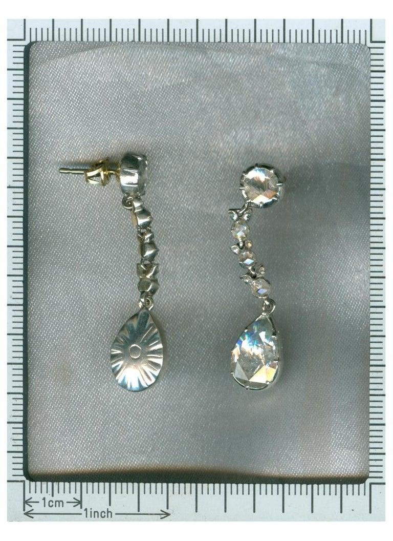 Fine Antique Georgian Pear Rose Cut Diamond 14 Karat Gold Dangle Earrings For Sale 2