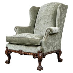 Fine Antique Georgian Style Carved Frame Wing Chair