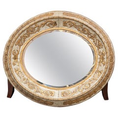 Fine Antique Gustavian Style Oval Carved and Painted Mirror