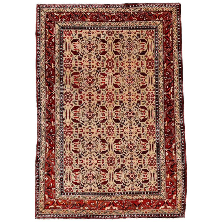 Antique Cotton Agra Rug With Abrash Circa 1900 For Sale: Fine Antique Indian Ivory Agra Rug For Sale At 1stdibs