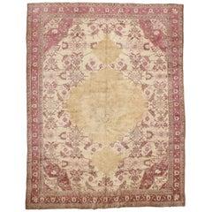 Fine Antique Ivory Background Agra Carpet