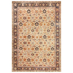 Fine Antique Ivory Background Persian Tabriz Rug. Size: 9 ft 10 in x 14 ft 2 in