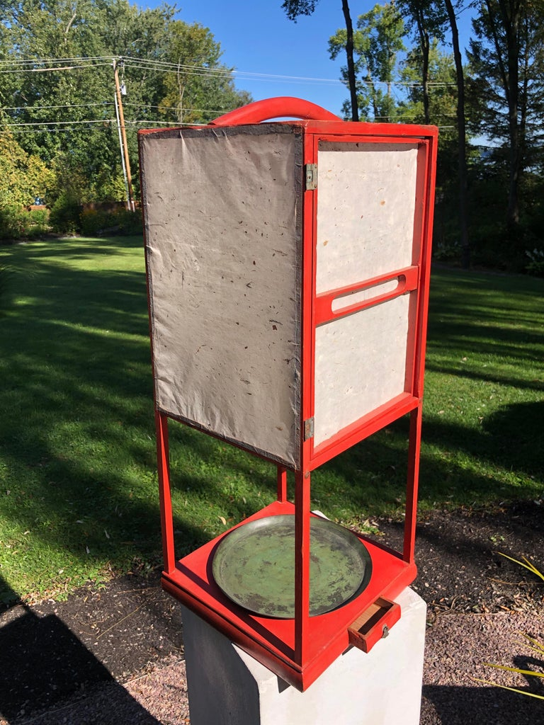 Fine Antique Japan Red Lacquer Andon Floor Lamp 1880 Immediately Usable For Sale 3