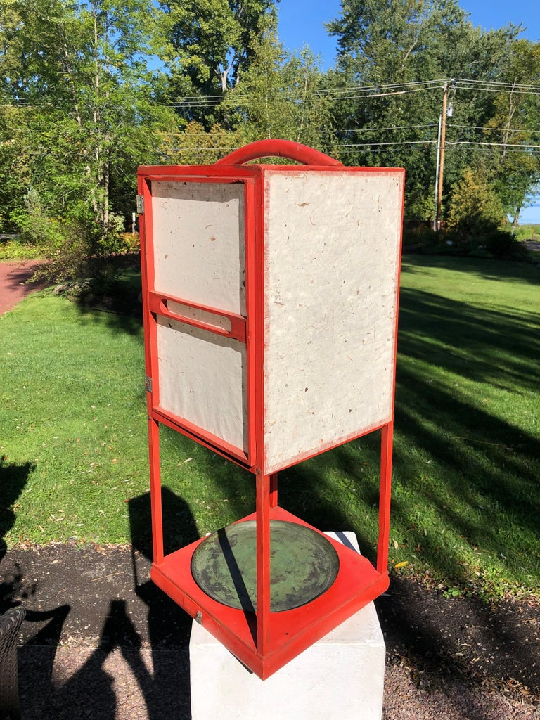 Fine Antique Japan Red Lacquer Andon Floor Lamp 1880 Immediately Usable For Sale 4