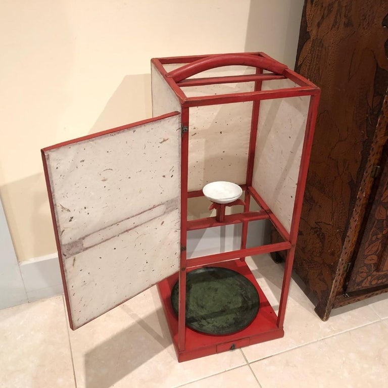 Japanese Fine Antique Japan Red Lacquer Andon Floor Lamp 1880 Immediately Usable For Sale