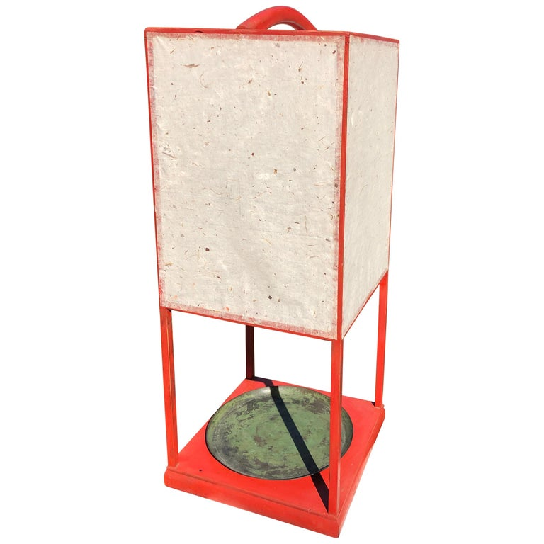 Fine Antique Japan Red Lacquer Andon Floor Lamp 1880 Immediately Usable For Sale