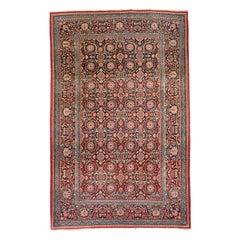 Fine Antique Kashan Dabir Persian Rug, Hand Knotted, circa 1910