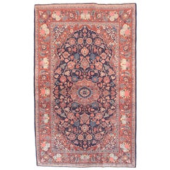 Fine Antique Kashan Persian Rug, Hand Knotted, circa 1920