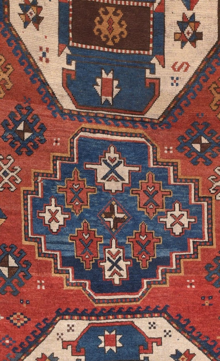 Fine antique Kazak Russian rug, hand knotted, circa 1890  Design: Tribal  The Caucasian carpets are from the areas south, east and north of the mountain chain of the Caucasus.  Carpets, made before 1925, can be divided into five groups namely;