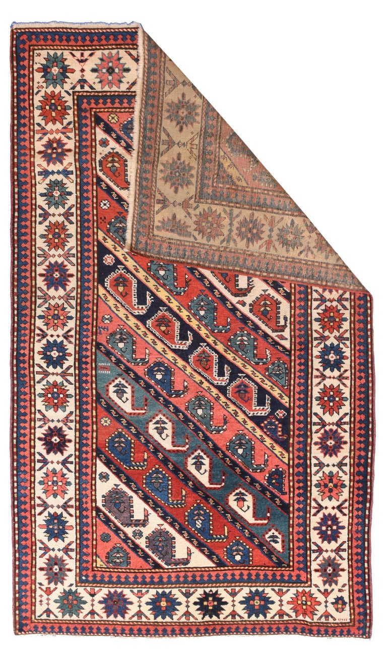 Persian Fine Antique Kazak Russian Rug, Hand Knotted, circa 1890 For Sale