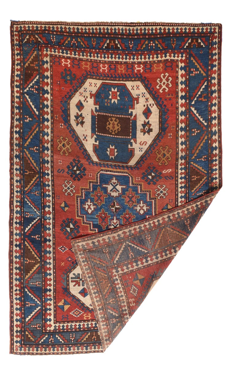 Hand-Knotted Fine Antique Kazak Russian Rug, Hand Knotted, circa 1890 For Sale