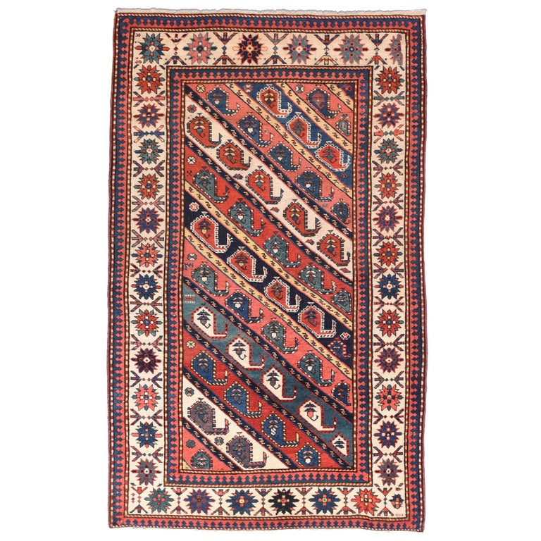 Fine Antique Kazak Russian Rug, Hand Knotted, circa 1890 For Sale