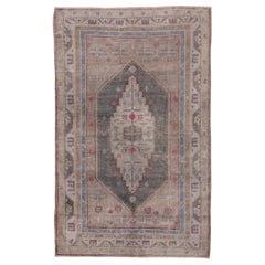 Fine Antique Khotan Rug, Taupe and Gray Field, Pink and Blue Accents