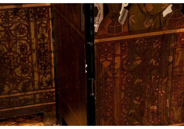 Fine Antique Asian Painted Six-Panel Screen For Sale 3