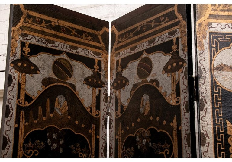 Fine Antique Asian Painted Six-Panel Screen For Sale 4