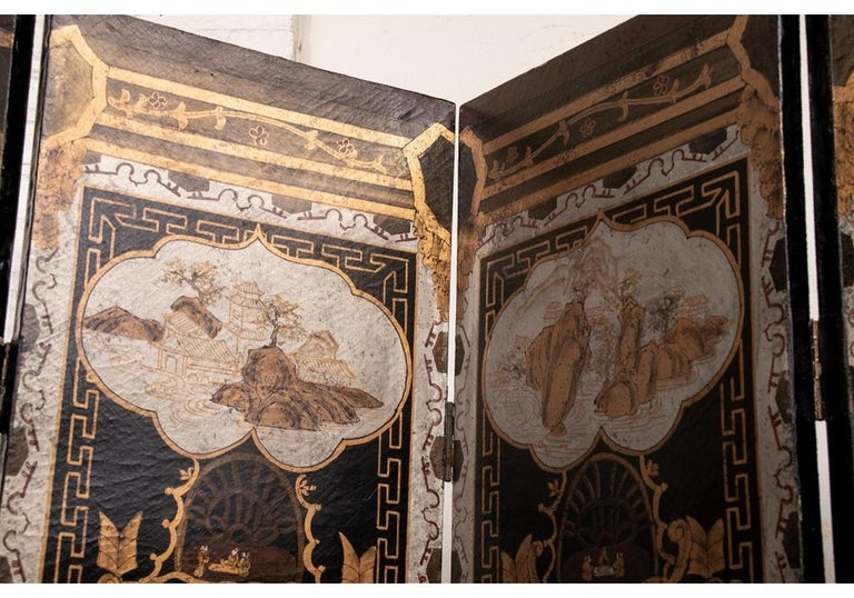 Fine Antique Asian Painted Six-Panel Screen For Sale 5