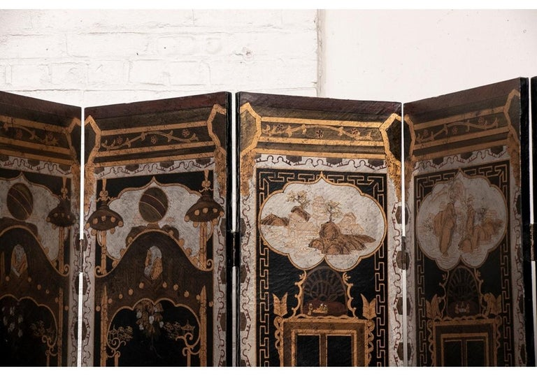 Fine Antique Asian Painted Six-Panel Screen For Sale 8