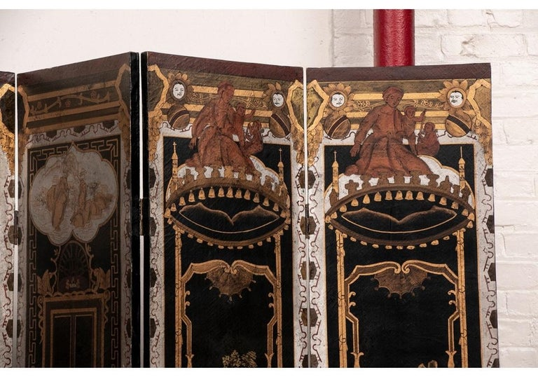 Chinoiserie Fine Antique Asian Painted Six-Panel Screen For Sale