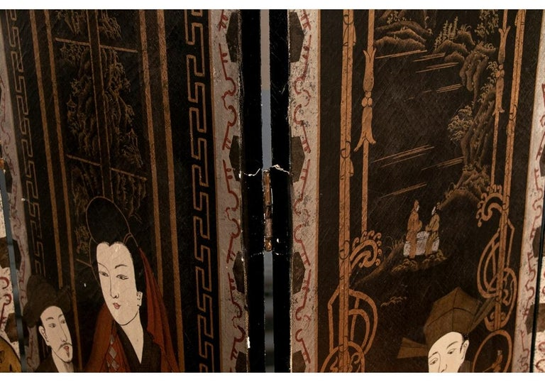 Japanese Fine Antique Asian Painted Six-Panel Screen For Sale
