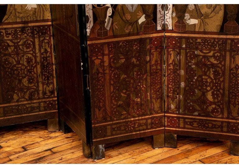 Fine Antique Asian Painted Six-Panel Screen In Good Condition For Sale In Bridgeport, CT