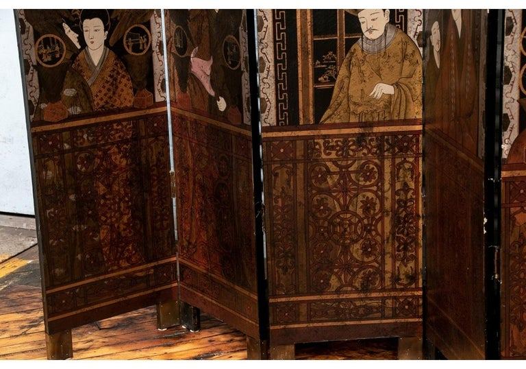 19th Century Fine Antique Asian Painted Six-Panel Screen For Sale