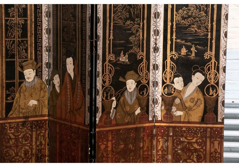 Wood Fine Antique Asian Painted Six-Panel Screen For Sale