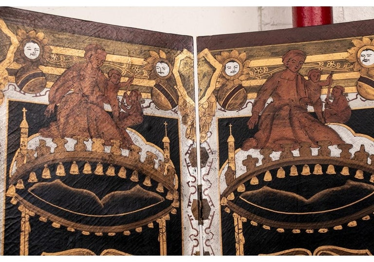 Fine Antique Asian Painted Six-Panel Screen For Sale 2