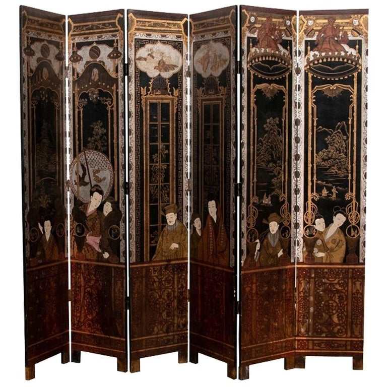 Fine Antique Asian Painted Six-Panel Screen For Sale
